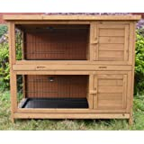 2 Pet Option Rabbit Hutch Guinea Pig Small Animal Ferret House (XL - 4 Foot Wide)by PGO