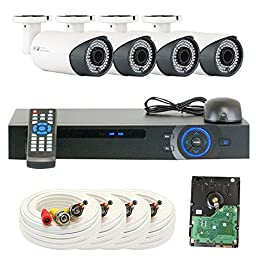 GW 4 Channel 1080P Preview 720P Realtime (4) Varifocal Zoom 200 feet IR Night Vision Outdoor/ Indoor Security Camera DVR System with Pre-Installed 1TB Hard Drive
