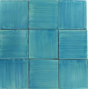 Mexican Tile - Set of NINE 4¼ x 4¼ Brushed Turquoise Talavera Tiles