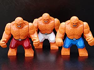 High Quality Custom Made - Set of 3 The Thing Minifigures - Fantastic 4 Superheroes - Compatible With Leading Brands