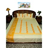 Amita's Home Furnishing Multi Color Hand Embroided BedSheet With 2 Pillow Cover