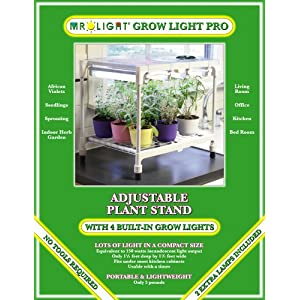 Mr. Light Grow Light Pro with 4 Linked 8-Watt Grow Lights and Adjustable Shelf