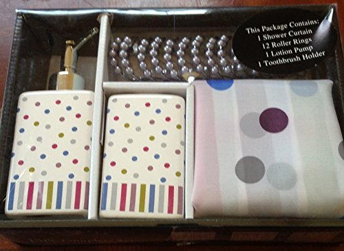 Polka Dot Modern Bathroom Accessory Set Shower Curtain Toothbrush Lotion Dot Health Beauty