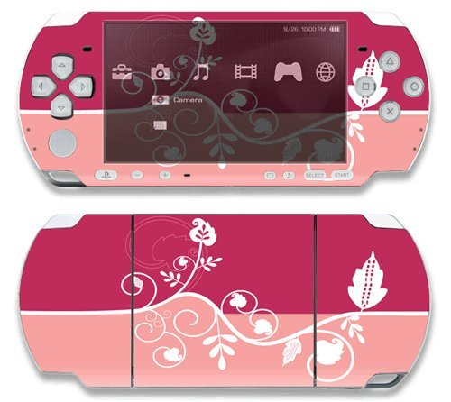 Pink+Abstract+Flower+Decorative+Protector+Skin+Decal+Sticker+for+Sony+Playstation+PSP+Slim+%2F+PSP+3000