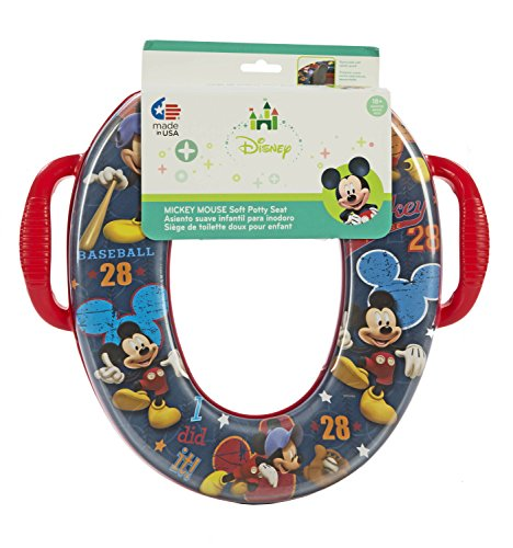 Disney Mickey Mouse Potty Seat - Padded, Soft, and Durable - For Regular and Elongated Toilets - Removable Cushion for Easy Cleaning - Firm Grip Handles - Blue and Red