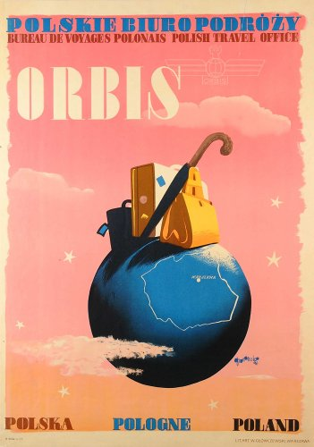 POLAND Vintage Orbis Polish Travel Office 250gsm ART CARD Gloss A3 Reproduction Poster