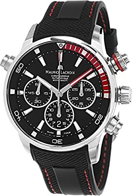 Maurice Lacroix Pontos S Chronograph Men's Black Dial Black Rubber Strap Swiss Automatic Divers Watch PT6018-SS001-330-1