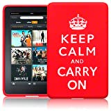 AMAZON KINDLE FIRE TABLET KEEP CALM & CARRY ON LASERED SILICONE CASE / SKIN / COVER / SHELL - RED/WHITEby TERRAPIN