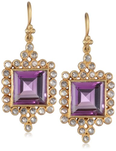 Lauren Harper Collection Sugar Buzz 18k Gold, Amethyst and Rose Cut Diamond Drop Earrings