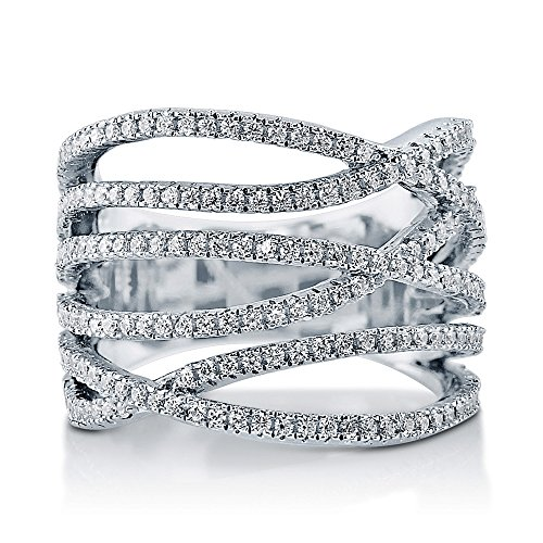 Berricle 925 Sterling Silver Swarovski Zirconia Woven Women Fashion Right Hand Ring
