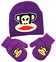 Paul Frank Julius Monkey Glue Print Beanie Mitten Purple Set for Toddlers Kids