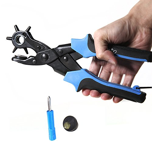 Homto Labor-saving Leather Belt Hole Punch 6 Size Round Head Revolves(0.079 to 0.177in) with Screwdriver Plier Tools Puncher for Punching Belts Card Rubber (Heavy Duty,Massage Brush Non-slip Handle) (Key Machine Cutting Wheel compare prices)
