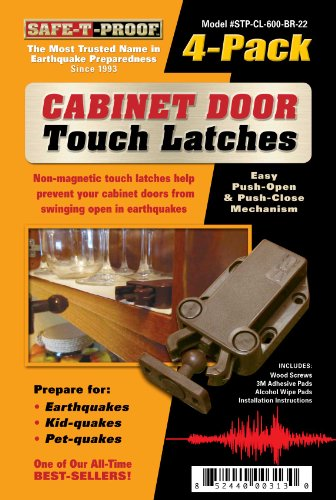 Safe-T-Proof Cabinet Door Touch Latches, Brown, 4-Pack (Latch For Kitchen Cabinets compare prices)