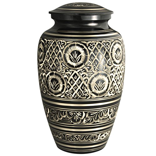 Funeral Urn by Meilinxu - Cremation Urns for Funeral Ashes Adult or Pet Urns for Dogs Ashes- Hand Made in Brass - Hand Engraved - Large Cremation Urns for Adults Burial or Animal Urns (Rings of Love (Medium Size Urns For Human Ashes compare prices)