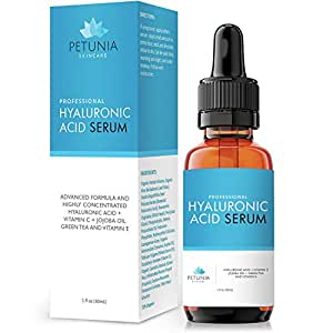 Petunia Skincare Best Anti Aging Hyaluronic Acid Serum with Vitamin C for Dry Skin Repair & Prevent Wrinkles & Fine Lines FREE e Book With Purchase Hydrating Anti Wrinkle Formula Treats Dehydrated