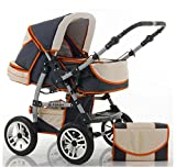 CALIDAD Carrito y Silla de paseo 2 en 1 FLASH - Todo incluido - Mucho accesorios de color Antracita-Crema-Naranja