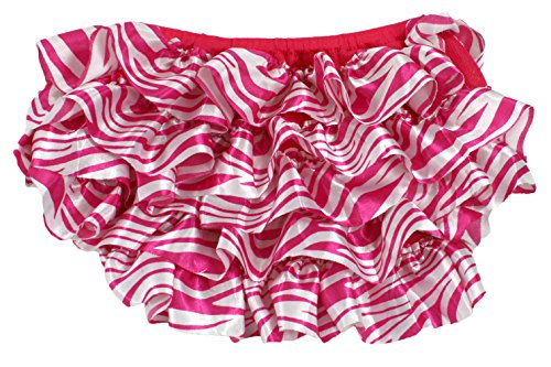 Baby Girls Satin Ruffle Diaper Covers Baby Bloomers in Variety of Designs (Hot Pink Zebra) - 1