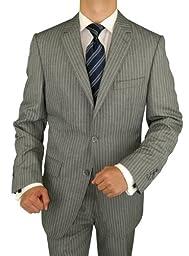 Bianco B Men\'s 3 Piece Suit Side-Vent Jacket Flat Front Pant Extra Trousers Gray (44 Long US)