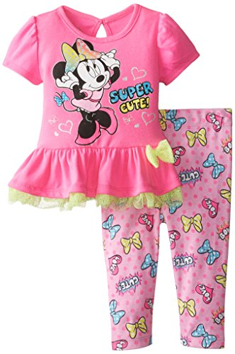 Disney Baby Girls  Minnie Mouse Legging Set with Bow and Peplum Top, Pink, 3/6 Months