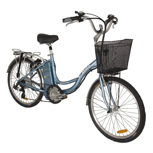 e-Moto 1.5 Liberty 26-Volt Step-Through Cruiser Electric Bicycle (Blue, 24-16-Inch)