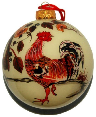 Hand Painted Glass Ornament, Rooster CO-123