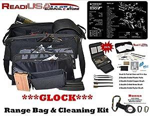 Glock Handgun Shooters Hunters Shooting Range Bag with TekMat & 24 Pc Handgun Range Cleaning Kit