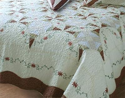 DaDa Bedding DXJ101567-2 Classic Cotton 5-Piece Quilt Set, Patchwork, Ivory
