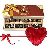 Valentine Chocholik's Belgium Chocolates - Sweetness Of Dark And Milk Chocolates With Heart Pillow