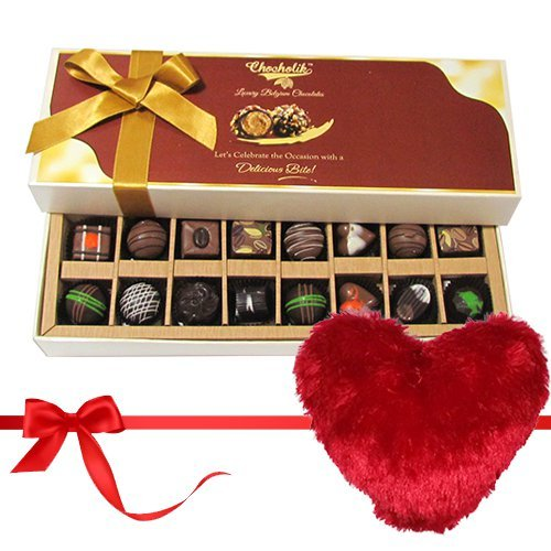 Valentine Chocholik's Belgium Chocolates - Sweetness Of Dark And Milk Chocolates With Heart Pillow