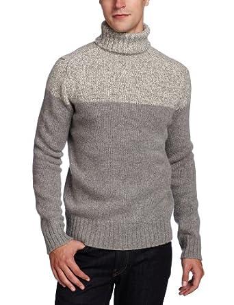Ben Sherman Men's Plectrum Colour Block Roll Neck Sweater, Silver Chali, Large