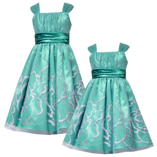 b3d5c04d129 Rare Editions LITTLE GIRLS 4-6X AQUA-BLUE GLITTER BORDER MESH OVERLAY Special  Occasion Wedding Flower Girl Easter Pageant Party Dress Review