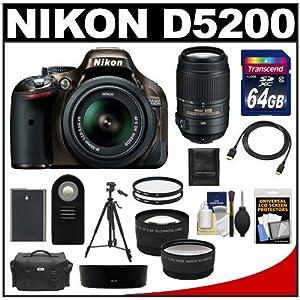 Nikon D5200 Digital SLR Camera & 18-55mm G VR DX AF-S Zoom Lens (Bronze) with 55-300mm VR Lens + 64GB Card + Battery + Case + Tripod + Tele/Wide Lenses + Remote + Accessory Kit