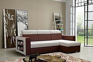 Couch Couchgarnitur Sofa Polsterecke GROODEN mit FEDERKERN und Schlaffunktion