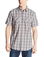 Axist Men's Short Sleeve Multi Check Button Down Woven