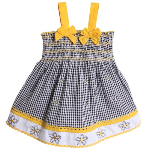 BT Kids Little Girls' 2 Piece Yellow Black White Gingham Sundress with Petticoat