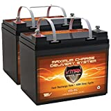 QTY2 VMAX857 AGM Deep Cycle Group U1 Battery Replacement for Electric Mobility Rascal 400T 12V 35Ah Wheelchair Battery (Color: BLACK,ORANGE)
