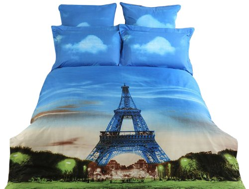 Dolce Mela DM429Q Eiffel Tower Queen Duvet Cover Set
