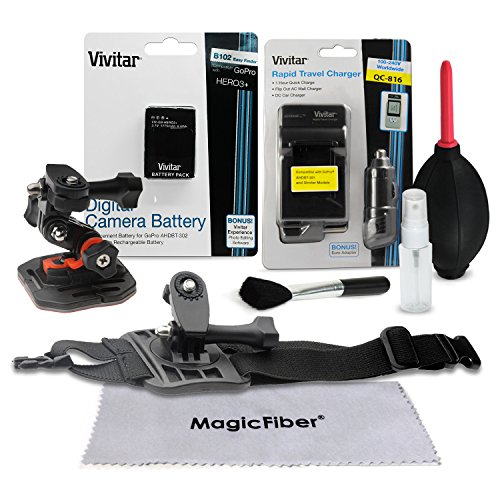 Vivitar Outdoor Accessory Kit For Gopro Hero 3+ & Hero3 Camcorders - Bundle Includes: Ahdbt-301 / Ahdbt-302 1775 Mah Battery + Rapid Travel Charger + Arm Band Mount + Flat Surface Mount + Cleaning Kit + Magicfiber Microfiber Lens Cleaning Cloth