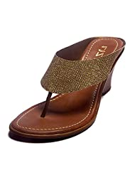 Liza Women's Antic Gold Synthetic Heeled Slip On - B00T2R3MCA