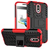 Parallel Universe Case for Moto G4 / Moto G4 Plus Dual Layer Rugged and tough Armor Hard Defender case with kickstand - Red