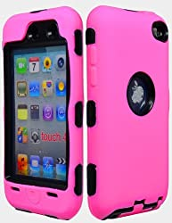 Bastex Hybrid Armor Case for Apple Ipod Touch 4, 4th Generation - Pink Silicone Skin / Black Hard