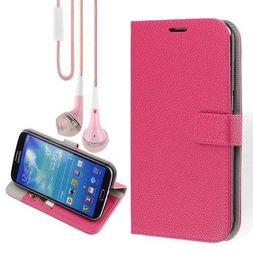 Wallet Folio Pu Leather Case Stand With Card Holder For Samsung Galaxy Mega 6.3 (Rose)+ Vangoddy Headphone With Mic ,Pink