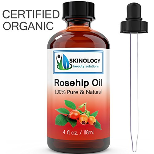 ORGANIC Rosehip Oil – Huge 4 OZ – 100% Pure Certified Organic Cold Pressed Rose Hip Seed Oil – BEST NATURAL MOISTURIZER for Face, Skin and Hair – Virgin, Unrefined and Rich in Vitamins, Antioxidants and Essential Fatty Acids – Hydrates and Heals Dry Skin, Effective for Stretch Marks, Wrinkles, Eczema, Sun Damage, Acne Scars, Brittle Nails & More! – Guaranteed to Refresh, Revitalize and Restore Your Skin's Natural Glow – Try Without Risk Today!