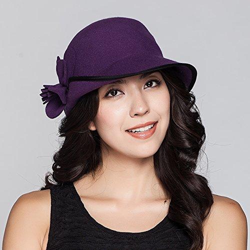 Dngy*Cap i bambini in autunno e in inverno flower pecore cappelli di feltro ribaditura è elegante e moderno piccolo cappuccio , Viola