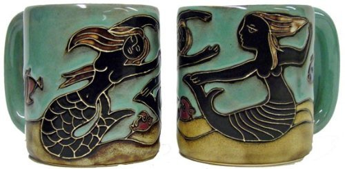 One (1) Mara Stoneware Collection - 16 Ounce Coffee Cup Collectible Dinner Mug - Mermaid Design