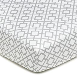 American Baby Company 100% Cotton Percale Fitted Crib Sheet, Gray Lattice