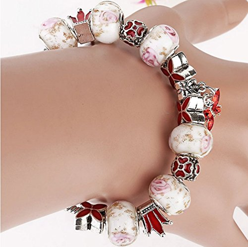 The Starry Night Rose Flower DIY Beads Exotic Style Butterfly Pendant Women Bracelet