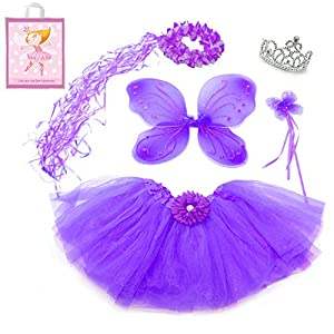 5 Piece Sparkle Fairy Princess Costume Set PLUS GIFT BAG (Purple)