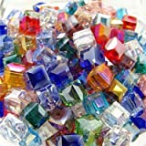 100pcs 6mm Mix Coloured Synthetic Quartz Square Glaze / Glass Loose Beads