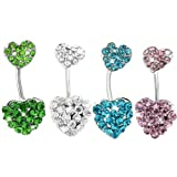 ANDI ROSE Body Jewelry Crystal Double Heart Plugs Belly Button Rings Bars Body Piercings